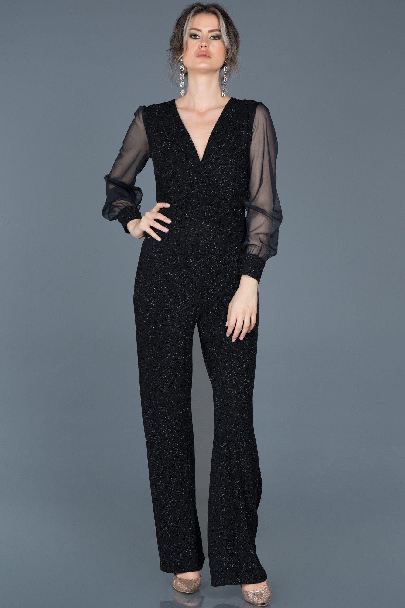 2020 Bayan Abiye Tulum Modelleri Siyah Kolsuz V Yakali Cizgi Desen Detayli 2020 Kiyafet Tulumlar Moda Kiyafetler