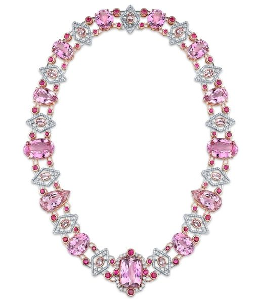 Kunzite Necklace With Morganite and Ruby - Hubert Inc.