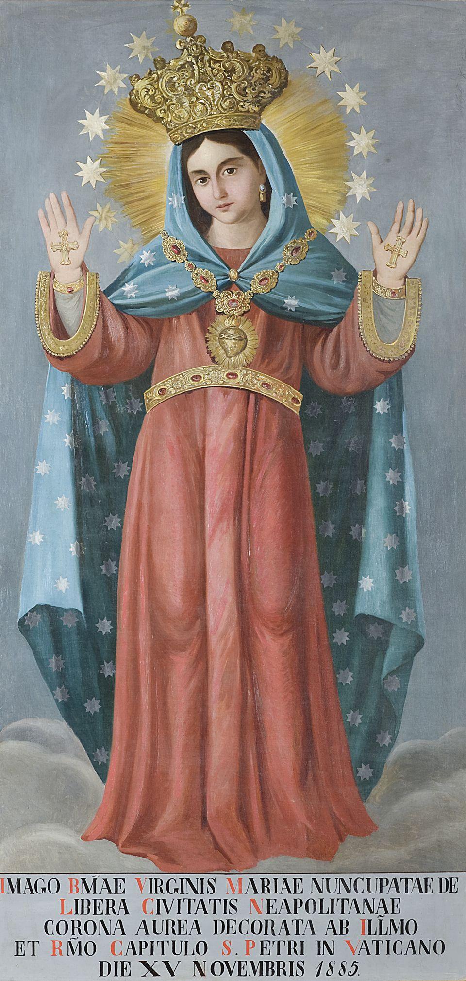 Maria Santissima della Libera. Apparsa a Benevento il 2 luglio 663 che  liberò la città da un assedio. La Madonna apparve con la cro…   Mama mary,  Virgin mary, Image