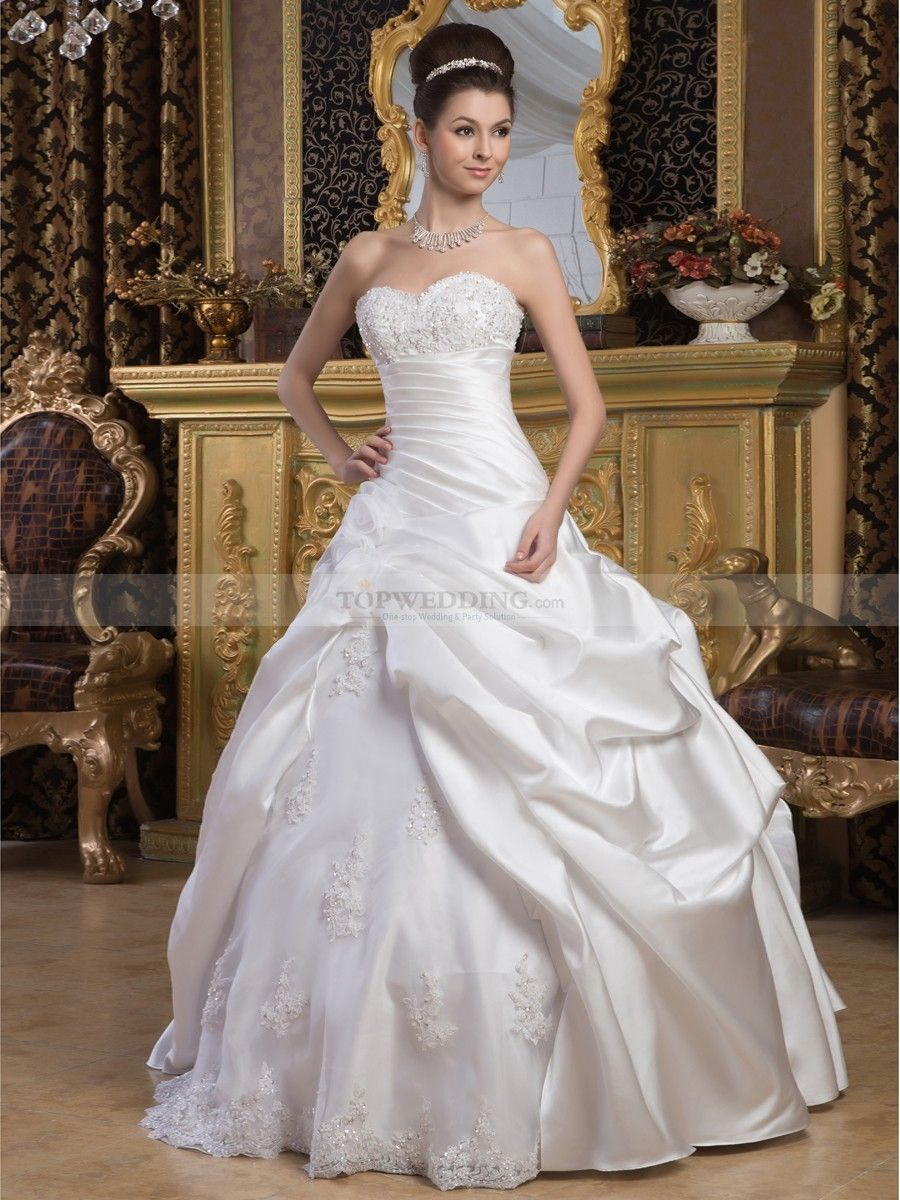 Satin Strapless Sweetheart Wedding Gown with Beaded Applique ...