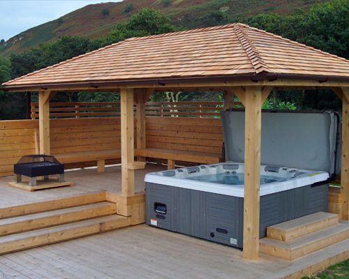Outdoor entertainment area with hot tub | Hot tub pergola ... on Garden Entertainment Area Ideas id=41779