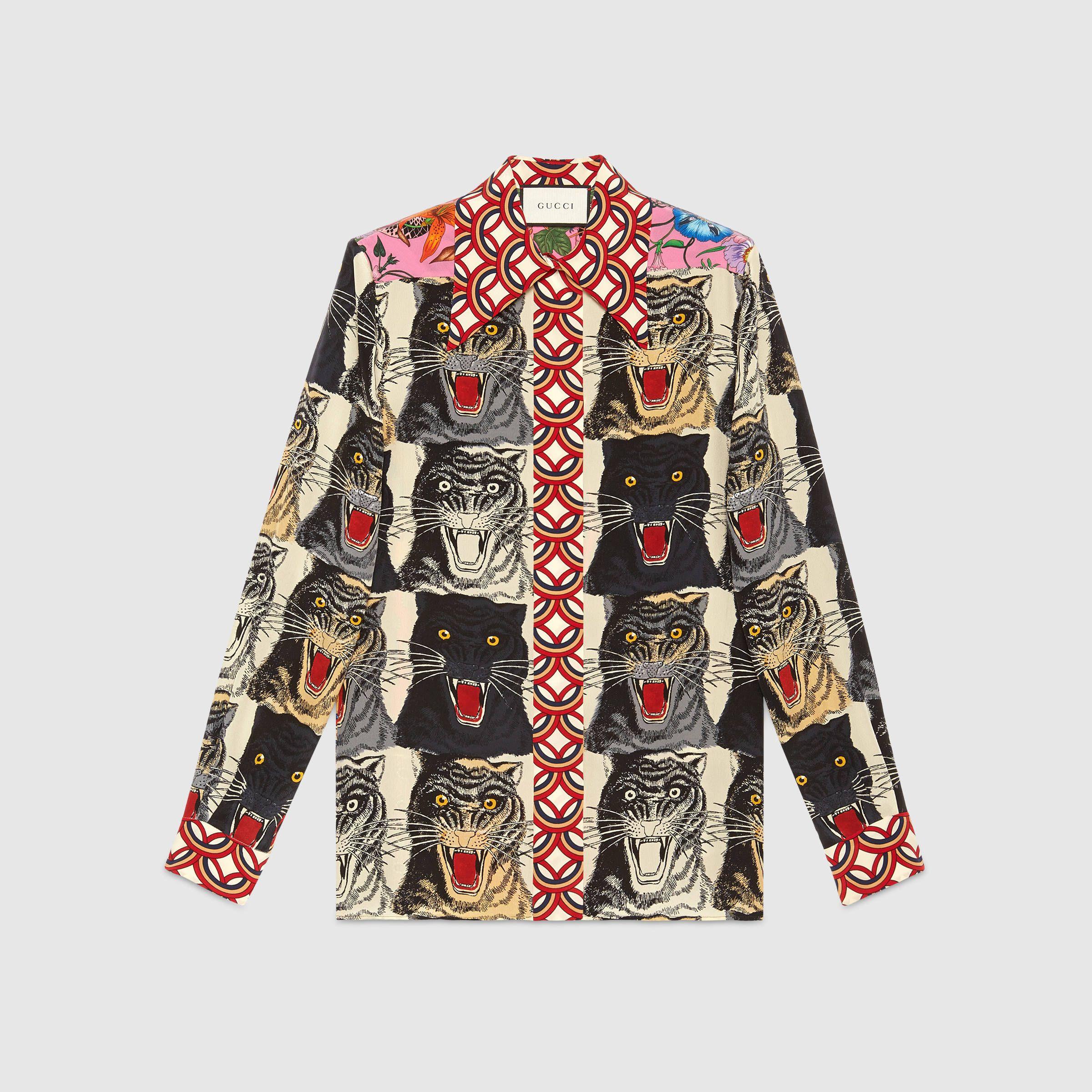 Gucci Tiger Face Print Silk Shirt My Style Pinterest Gucci