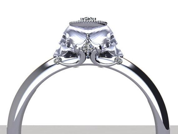 Rose Gold Engagement Rings Skull 3