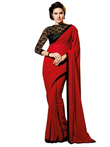 4b03afe2ec5 RED SARI WITH FANCY BLOUSE AND BLACK BORDER Shree Sanskruti http   www.