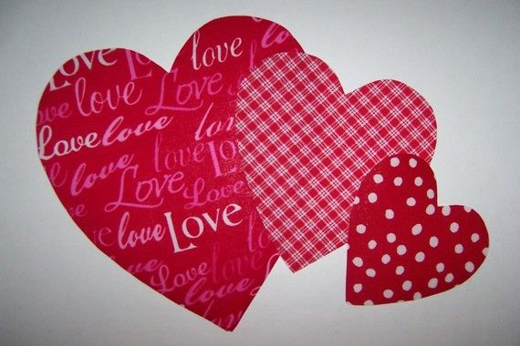 Fabric applique template only valentine heart hearts sizes via