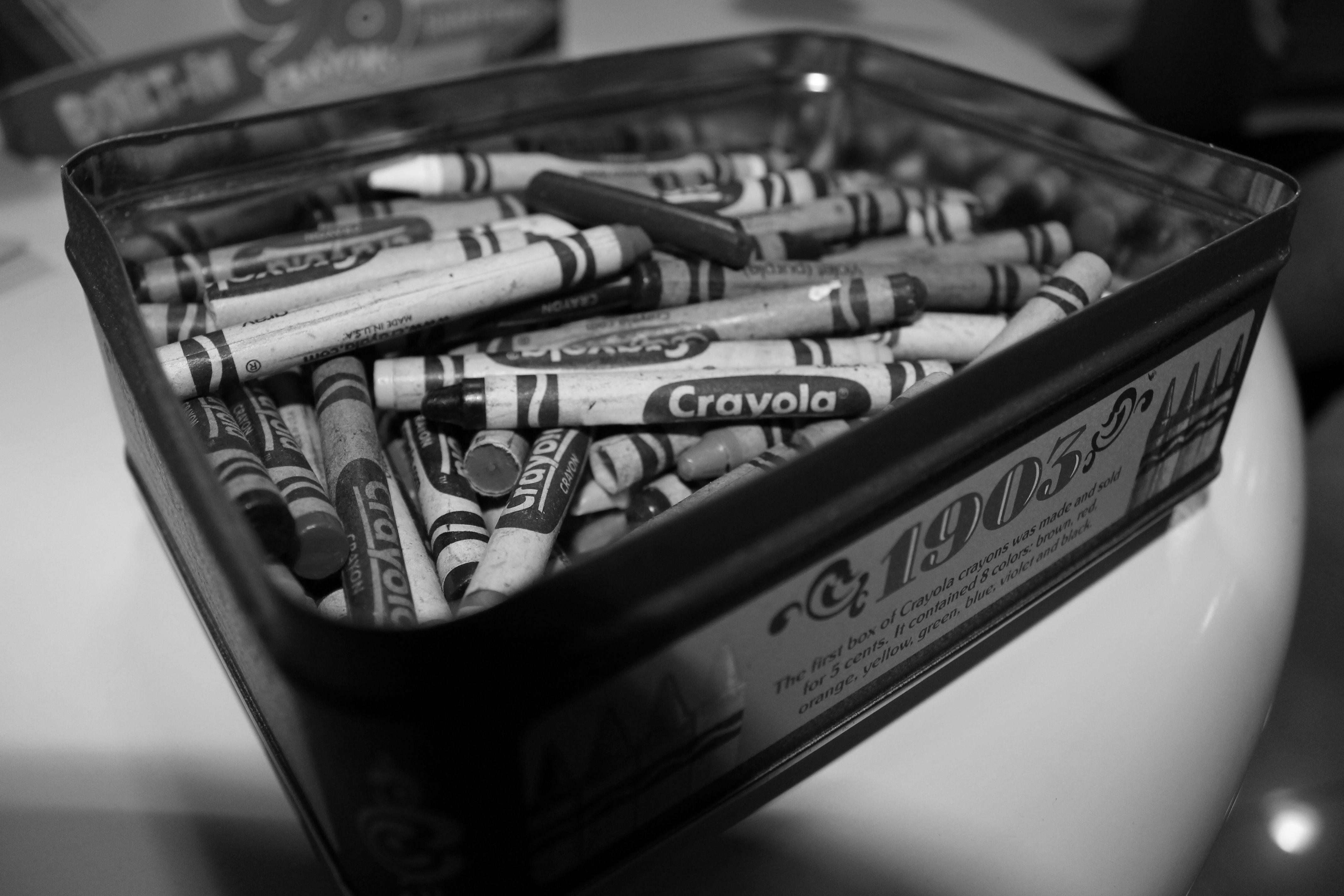 Monochrome Crayolas. (Taken with Canon EOS Rebel T3)