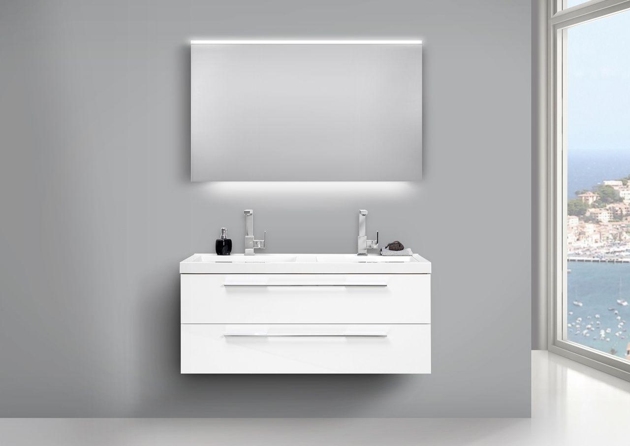 Doppelwaschtisch Badmöbel Set Weiss und LED Lichtspiegel doppelt ...