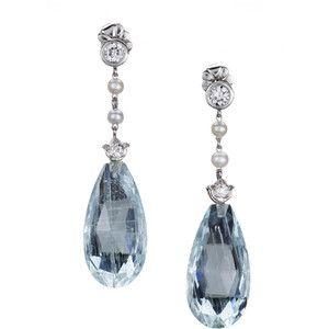 Aquamarine And Pearl Earings Edwardian Diamond Briolette Drop Earrings