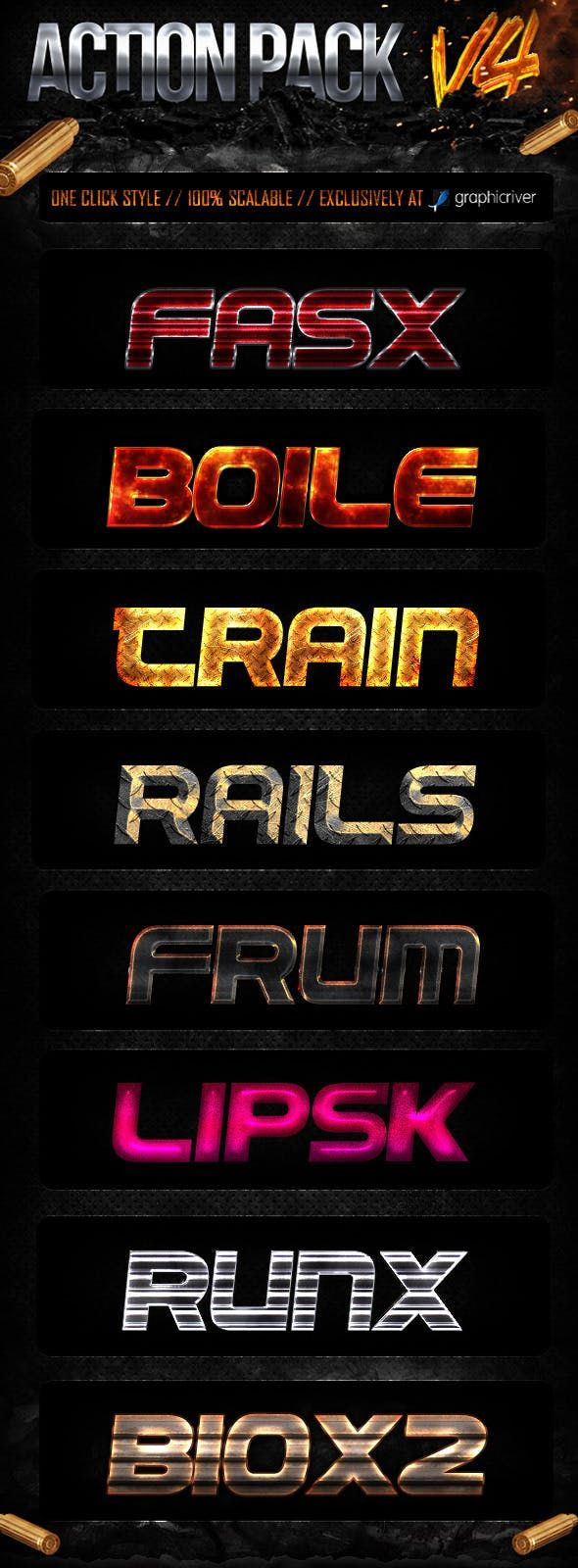 Download Action Style Pack V4 | Photoshop styles, Photoshop text ...