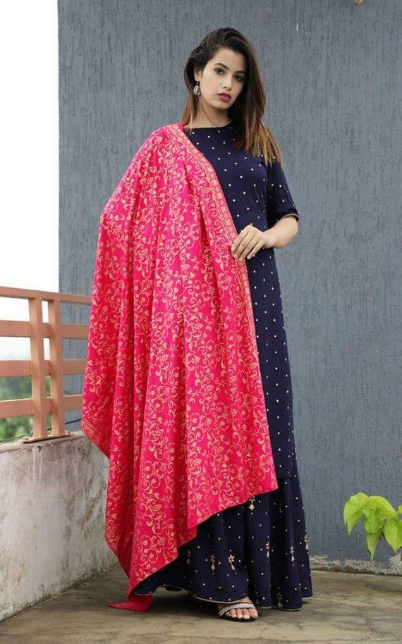 cb2ac30f83 Designer Long Maxi Dress Handcrafted Ethnic Wear Kurti with Skirt and Heavy  Embroidery Dupatta Set b