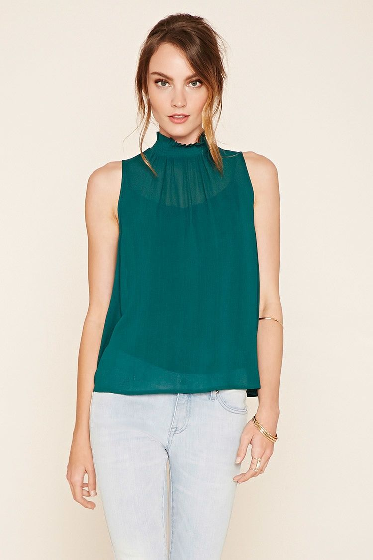 Forever 21 Contemporary - A sleeveless woven top with a smocked mock neckline…