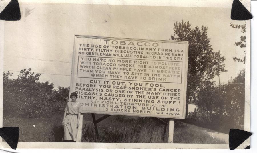 Strange sign outside of Zion, Illinois ca. 1915