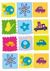 Blommor och bilar  http://www.barndekor.se/products/vaggstickers-fyrkanter