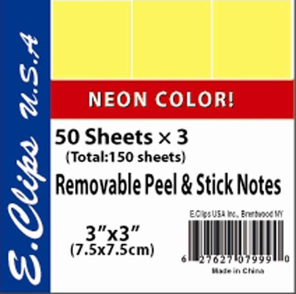 sticky note pads 3/pack neon yellow Case of 72