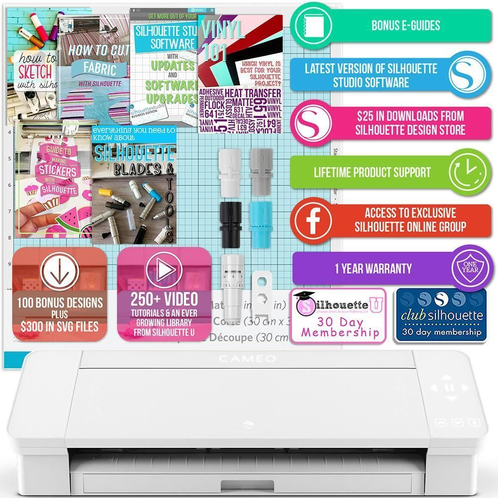 Silhouette Cameo 4 with Bluetooth 100 Designs and Silhouette Studio Software Autoblade 2 White Edition 12x12 Cutting Mat