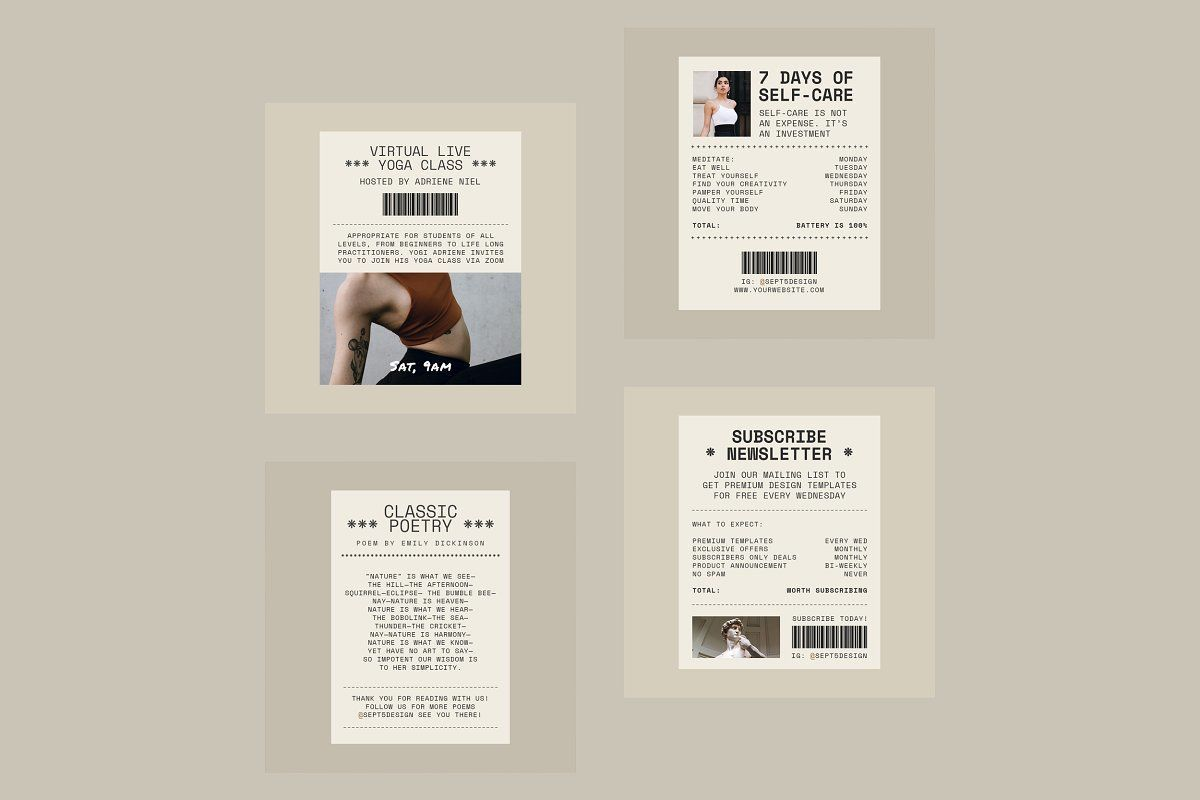Creative Receipt Social Media Pack Social Media Pack Book Cover Design Template Templates Free Design
