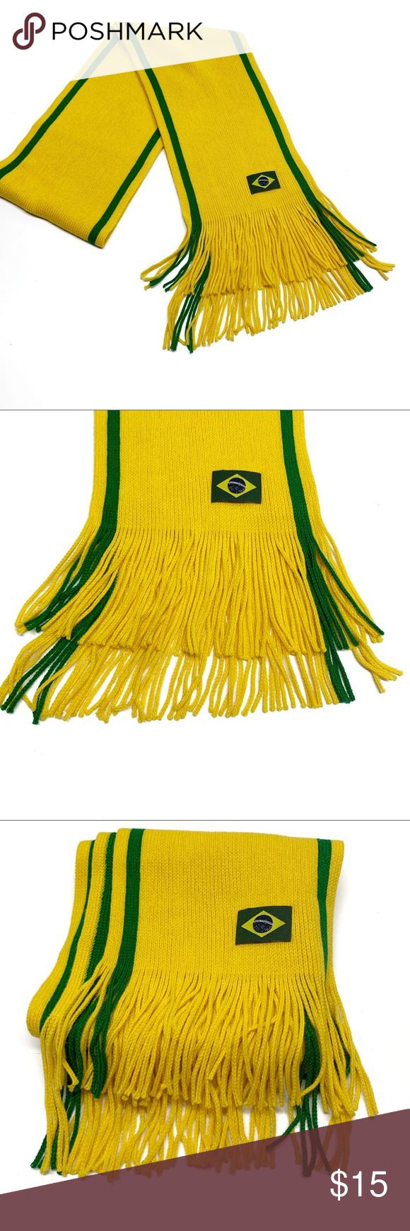 Brazil Flag Fringed Scarf Portuguese Brazilian Flag Fringed Scarf Portuguese Colors Are Yellow And Green New Witho Fringe Scarf Clothes Design Fringed