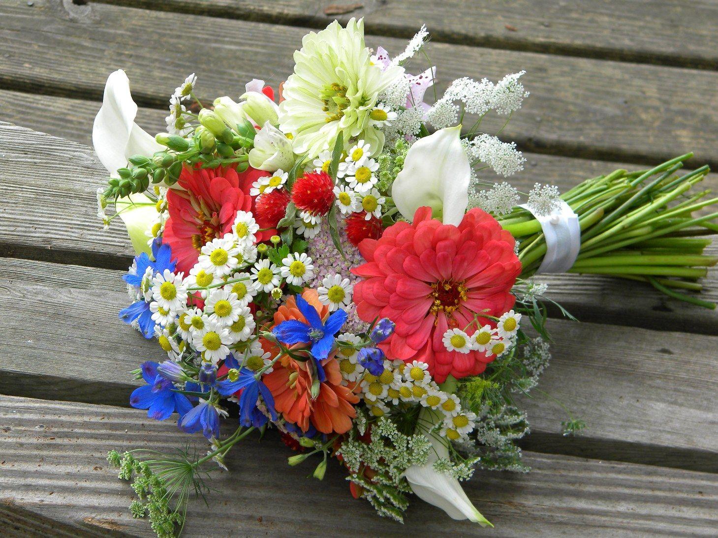 Summer Bouquet in Warm Coral and Cobalt Blue Wedding