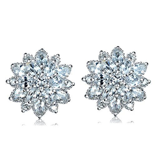 KnSam Women Platinum Plate Pierced Stud Earrings Imitate Pearl Star Crystal Rhinestone White