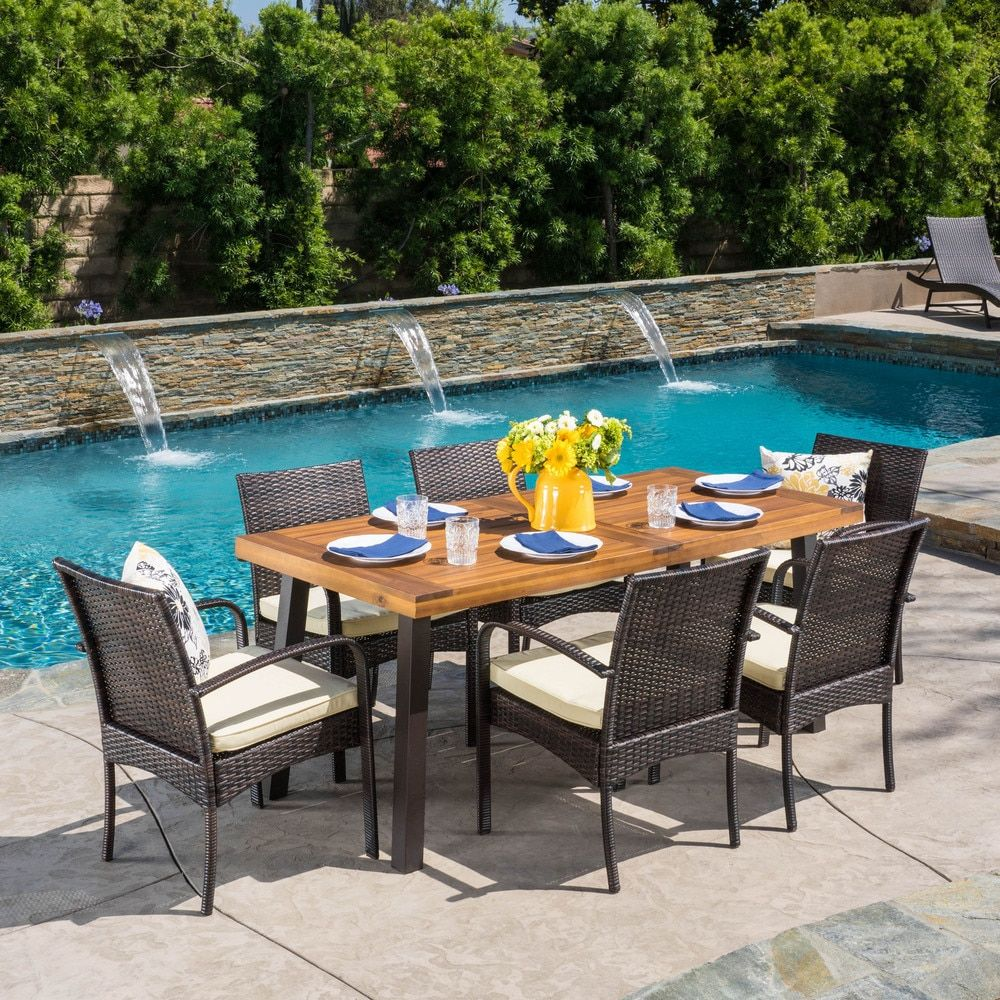 Home garden furniture  Bavaro Outdoor piece Rectangle Dining Set with Cushions by