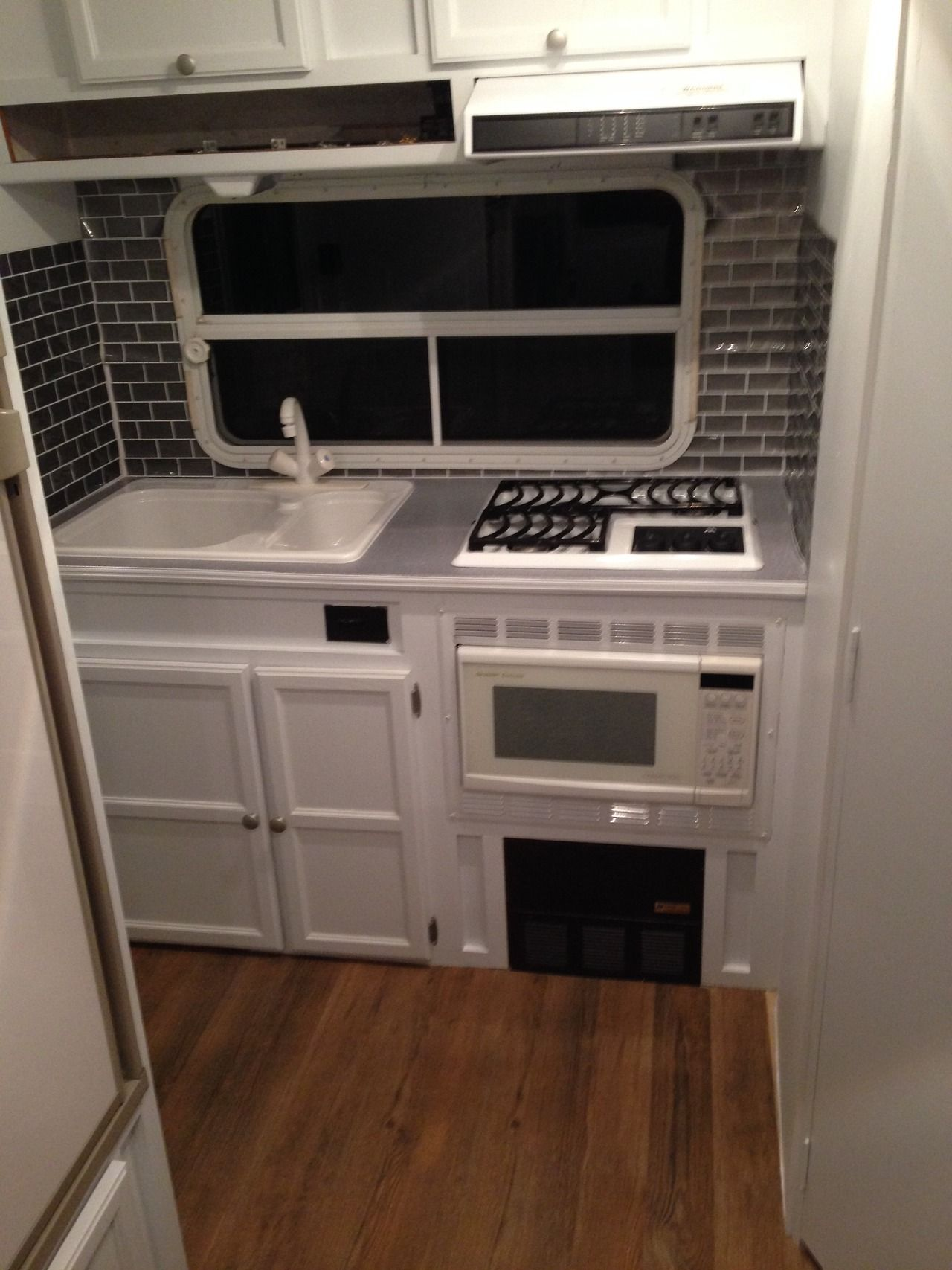 Easy Kitchen Renovation Blog About Camper Remodel Wood Floor Peel And Stick Easy To