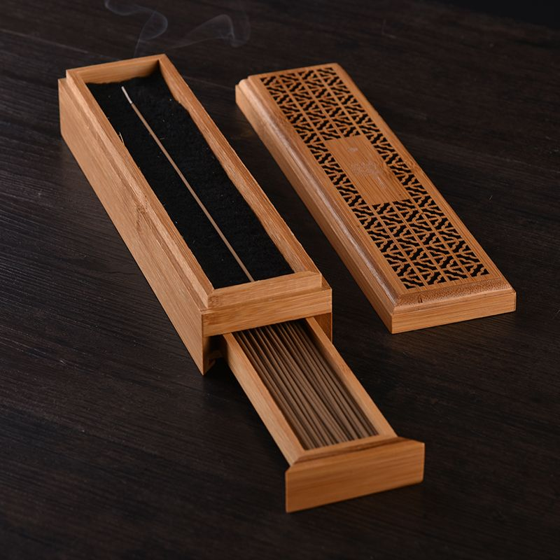 Bamboo Zen Incense Burner With Drawer Storage Box For Joss Stick Hollow Wooden Case Box Incense Incense Incense Sticks Holder Censer