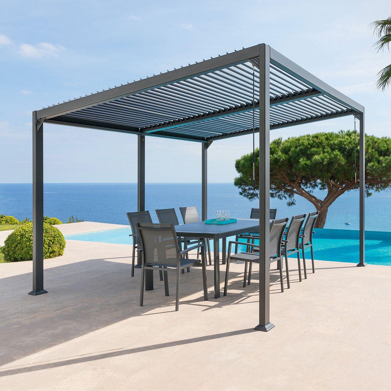 Tonnelle Avila 4 X 3 M Graphite Design Jardin Terrasse Pergola Pergola Acier