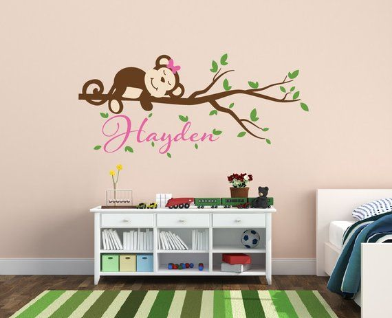 girl monkey decal - girls nursery wall decal - monkey name wall