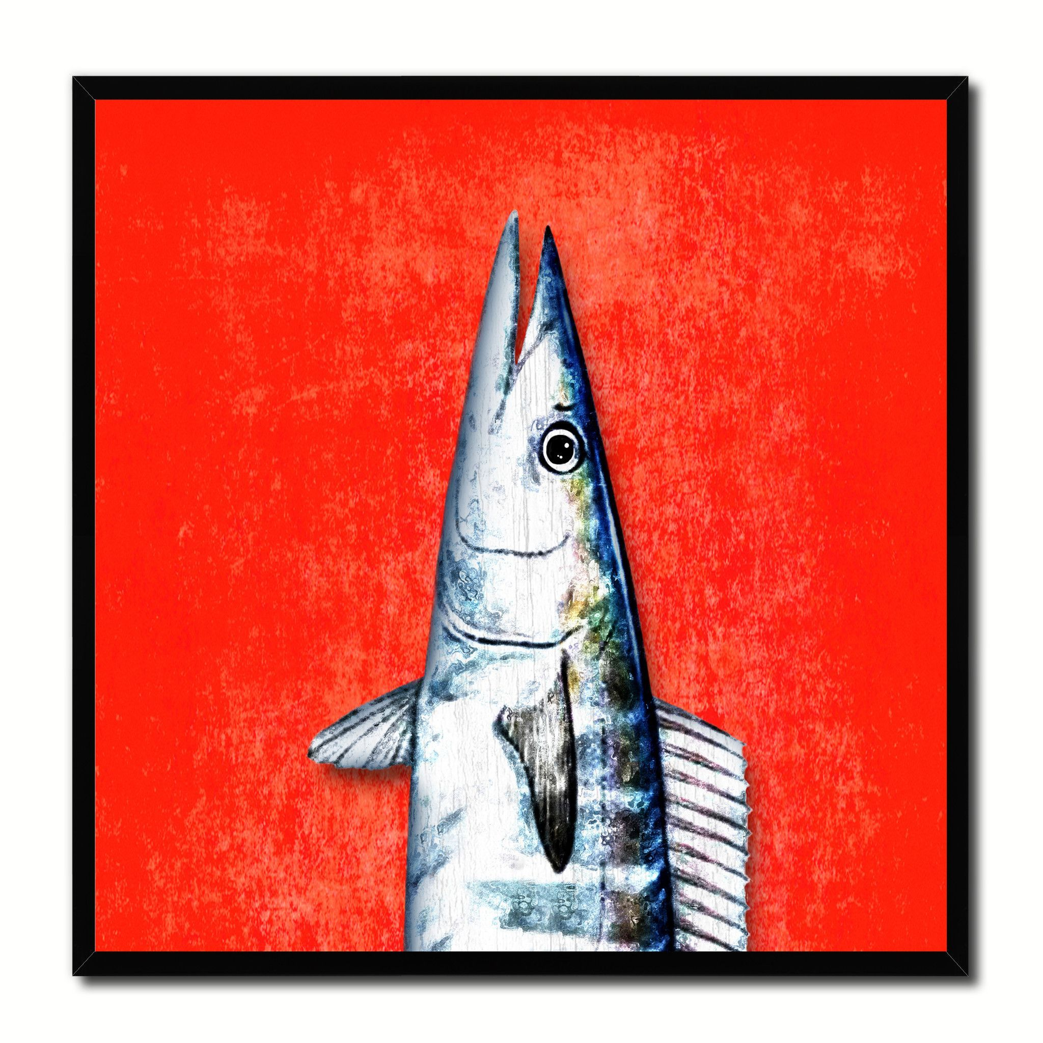 Nautical gifts for the home - Wahoo Fish Head Art Red Canvas Print Picture Frame Wall Home Decor Nautical Fishing Gifts
