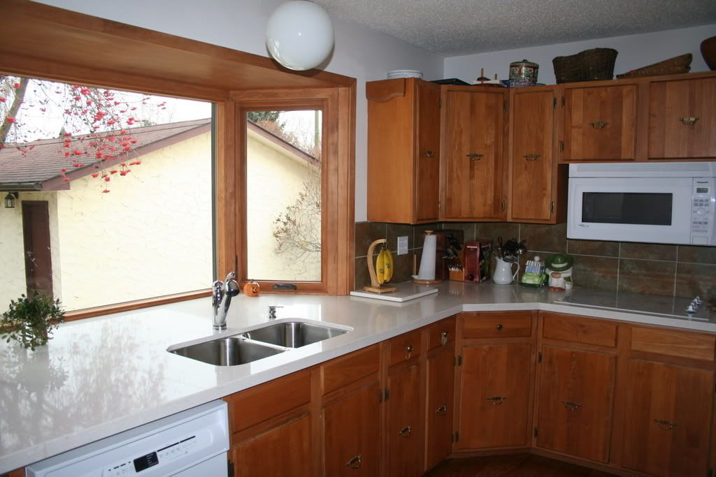Attractive Kitchen Redone Adding New Bay Window, Quartz Counter Top, Double Sink,  Glass Cooktop