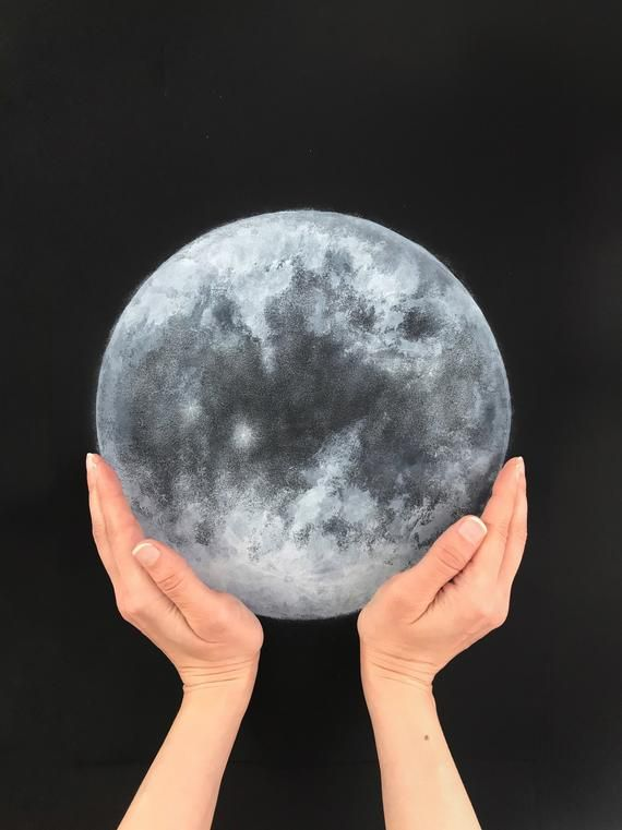 Big Moon Painting Original Artwork Moon Child Moon Phases Art Space Art Moon Art Cosmic Artwor Moon Painting Moon Phases Art Moon Art
