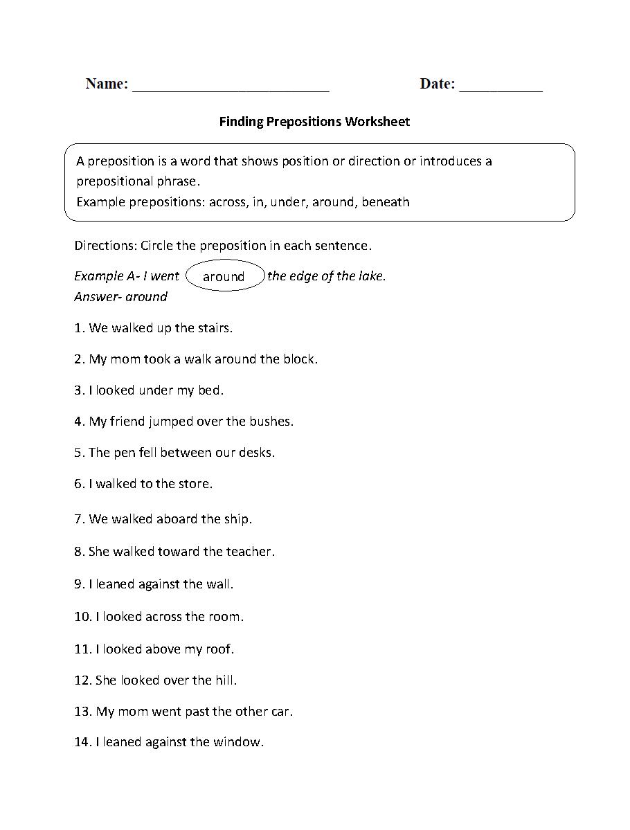 Finding Prepositions Worksheet   Prepositional phrases ...