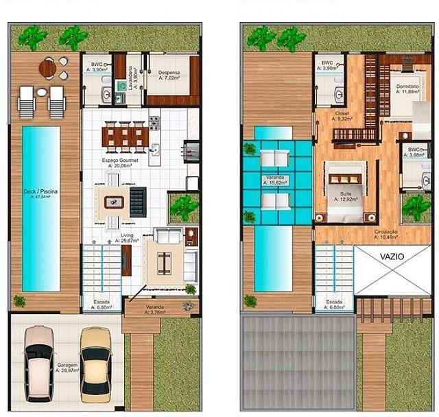 planos de casas de dos pisos en 3d con piscina