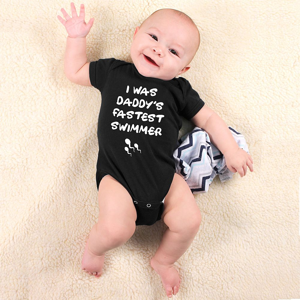 Daddy/'s Fastest Swimmer Baby Bodysuit Funny Baby One Piece Surprise Baby Gift Baby GirlBoy Clothes Pregnancy Reveal New Baby Outfit