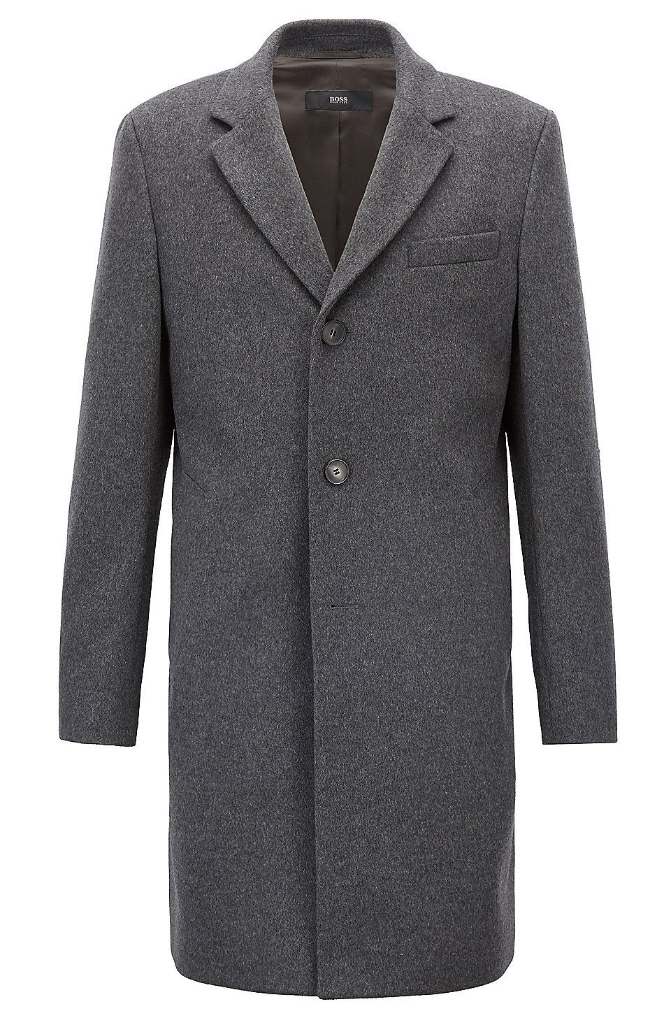 Hugo Boss Formal Coat In Wool And Cashmere With Notch Lapels Grey Formal Coats From Boss For Men In The Official Hugo Boss O Herren Abendmode Mantel Kaschmir