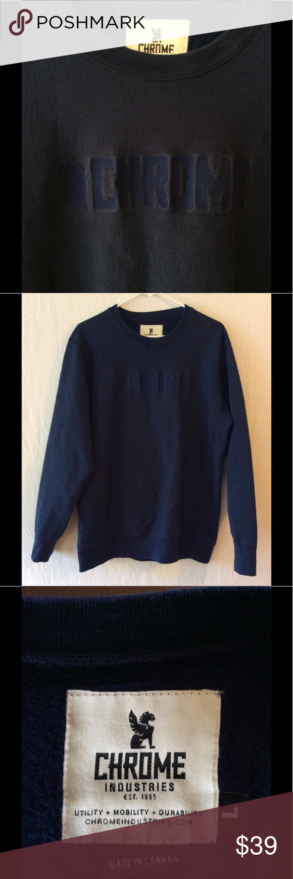 """Chrome Cycling Sweatshirt Men's Chrome Cycling Sweatshirt in navy blue.  Size large; 22.5"""" width, 29"""" length.  100% cotton.  Really nice, heavy, warm sweatshirt in very good used condition.  Very well made; its quality is evident when you feel it. Chrome Shirts Sweatshirts & Hoodies"""
