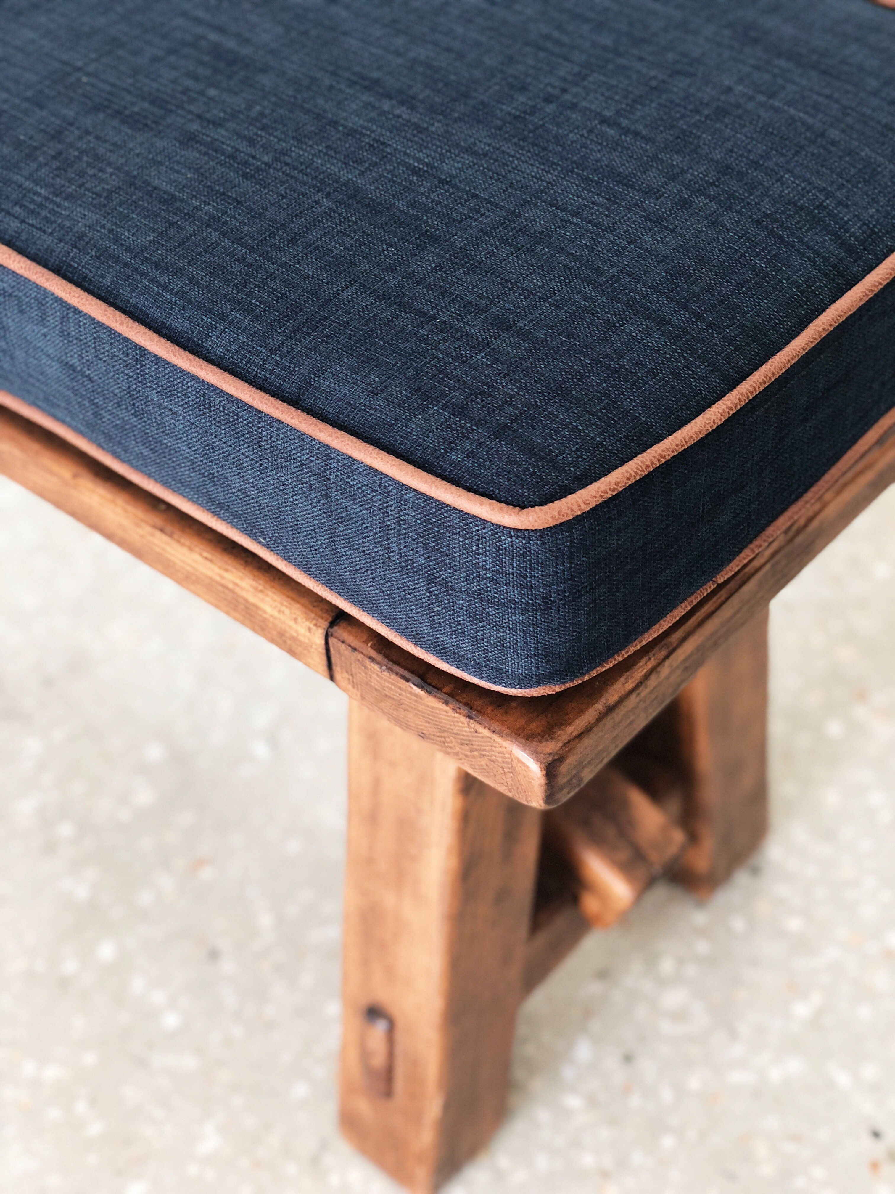 Close Up Squarefox Custom Bench Seat Cushion In Navy With Faux Leather Trim Custom Bench Seating Bench Cushions Leather Bench Seat