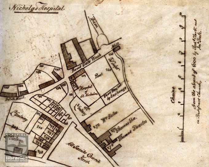 Map showing the site of the Saint Nicholas' Hospital, Pontefract, West Yorkshire - Said to be where Robin Hood died - Swein-son-of-Siccga - Ca.1090s CE - The Prince of Thieves - Viking