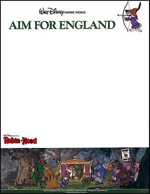 Robin-Hood-Aim-For-England-Disney-Company-Letterhead-1-Sheet-New - company letterhead