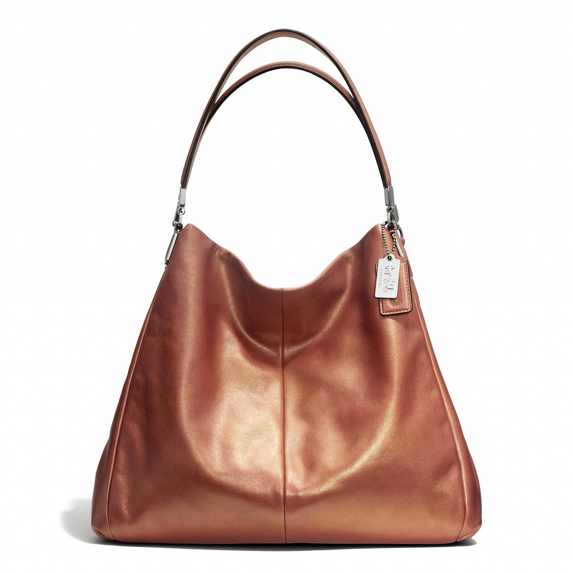 madison phoebe shoulder bag in metallic leather in rose gold from rh pinterest com