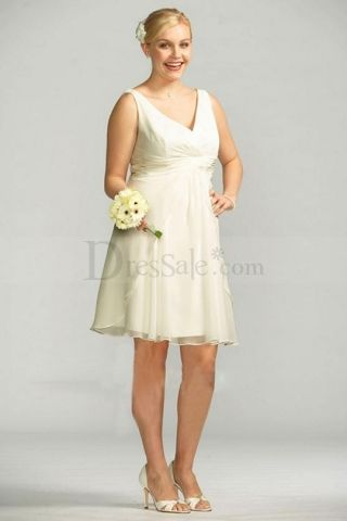 Sears White Short V-neck Gowns with Pleated Bodice | Flower girl ...