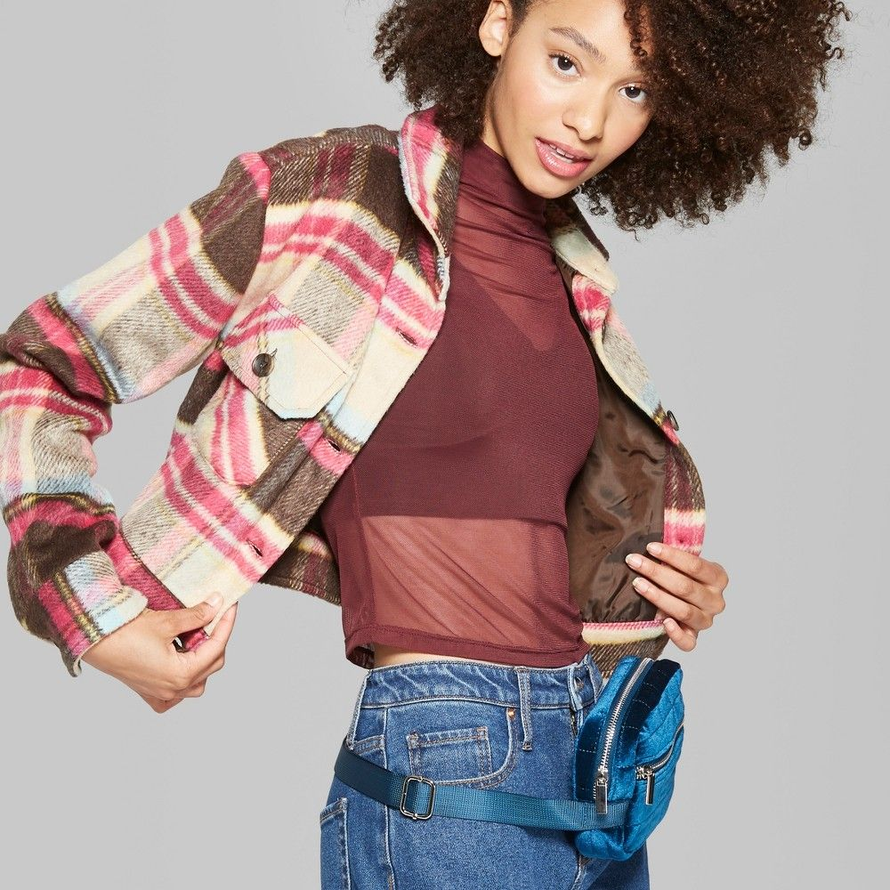 Brown And Pink Plaid Jacket With An At Hip Hem Features Two Chest Flap Pockets With Buttons That Match The Button Down Front Ha Plaid Jacket Wild Fable Plaid [ 1000 x 1000 Pixel ]