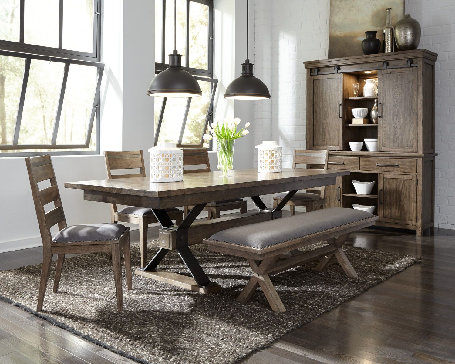 Sonoma Road Trestle Table With 4 Chairs And Bench Furniture
