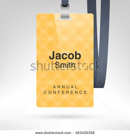 yellow conference badge with name tag placeholder blank badge