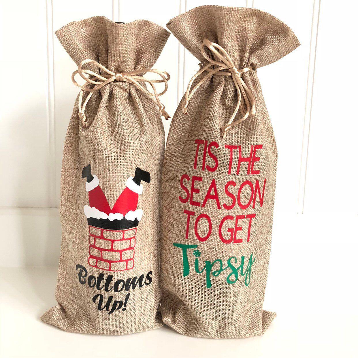 Christmas Wine Bag/Burlap Wine Sack/Santa Wine Bag/Wine Gift Bag ...