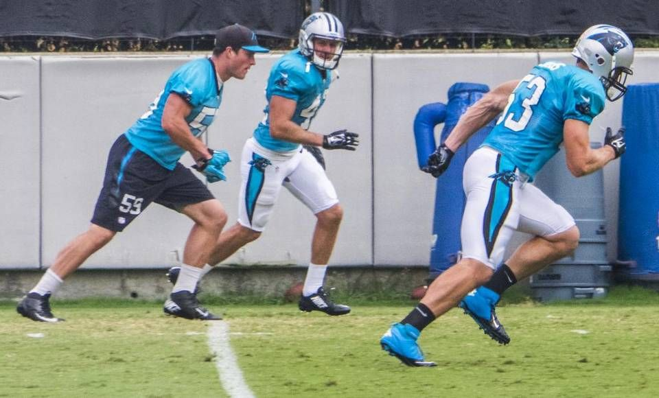 Carolina Panthers middle linebacker Luke Kuechly (59) returned to practice 09.23.15 for the first time since getting a concussion. He did non-contact drills.