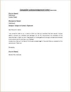 Complaint Acknowledgement Letter Download At HttpWriteletter