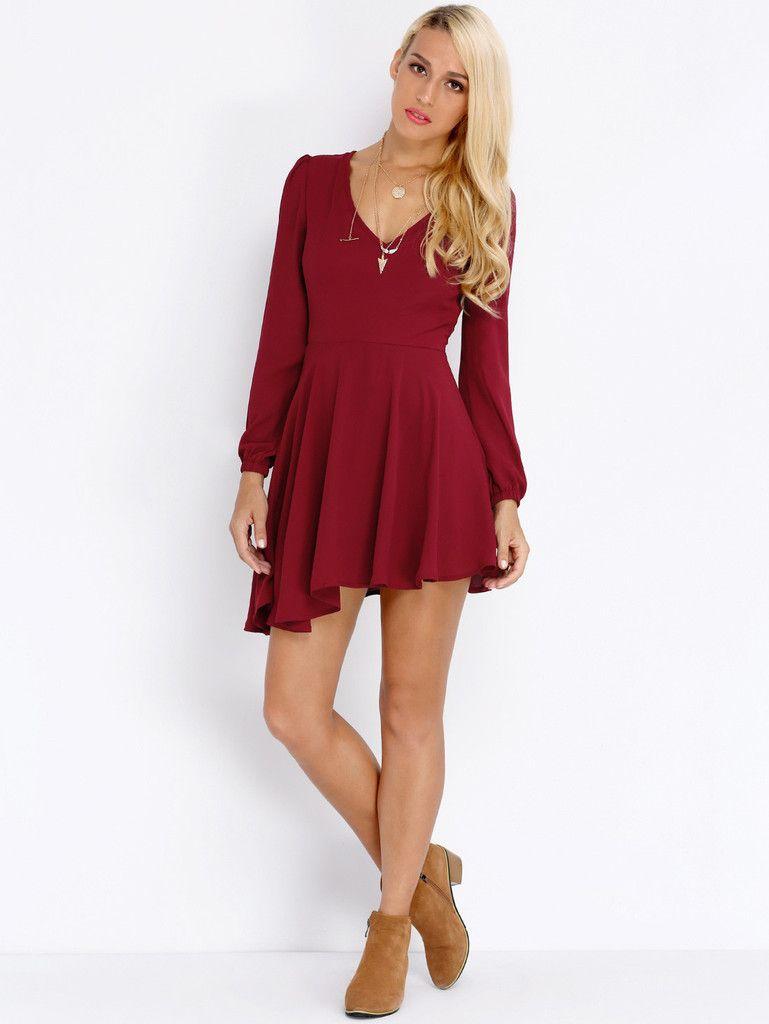 Wine red long sleeve v neck pleated dress dresses pinterest