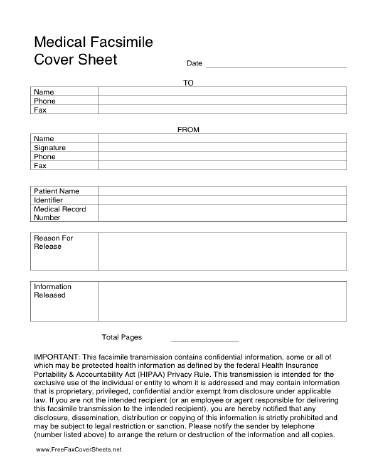 This printable HIPAA fax cover sheet complies with the federal - free downloadable fax cover sheet