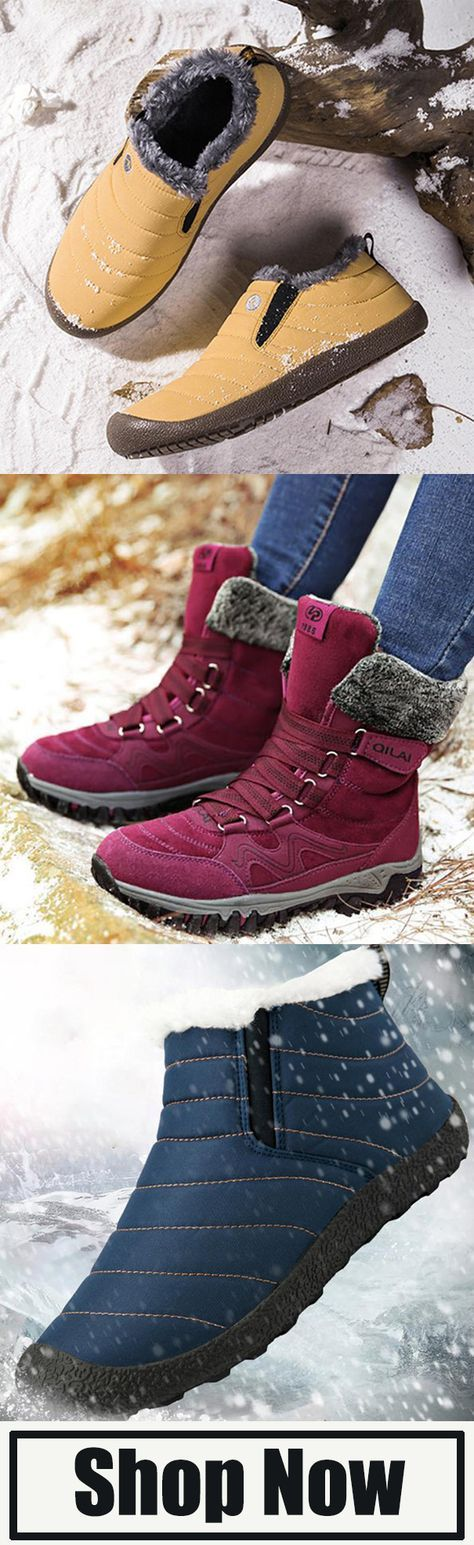 Women Comfy Warm Zipper Snow Boots Boots, Leather boots